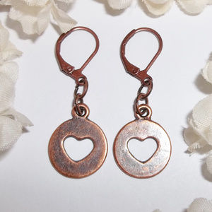 Boho Copper Heart Circle Earrings Simple Modern